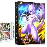 QIFAENY Album Compatible con Cartas Pokemon, Album Cartas Carpeta Cartas Compatible con Pokemon GX, Álbum de Cartas coleccionables de Pokémon, Capacidad para 30 páginas 240 Cartas (Mewtwo)