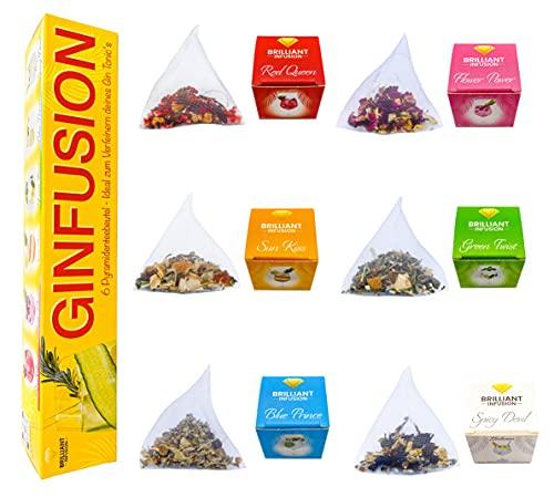 BRILLIANT INFUSION | 6 GIN TONIC Infusion Pyramidenbeutel | DIY & verfeinere deinen GIN TONIC 100{0927226110a17417c75fd59ef9782a43e445f22f85c0a41599cd758ba42d0b0f} Natürlich | Gin Infusion Geschenkset | Hochwertige Gin Botanicals | Gin Gewürze Kräuter Früchte