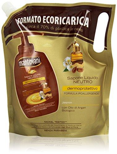 Mantovani – vloeibare zeep neutraal, ecoricarica, met arganolie bio, 750 ml