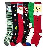 I&S 6 Pairs Knee High Socks, Printed Fun Colorful Festive, Knee Length Socks Women Colorful Fancy Design Soft (Knee Length Christmas #1)