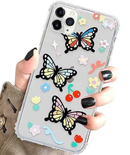 J.west Pro Max, süßes Schmetterlingsmuster, bedruckte Mädchen und Damen, transparentes Design, weiches TPU, stoßfest, schlanke für Max 16,5 cm