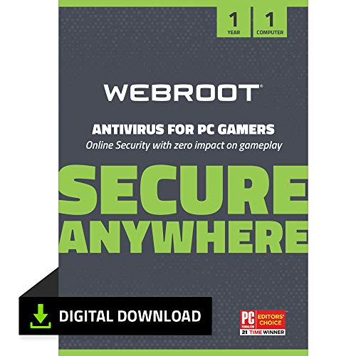 Webroot Antivirus for PC Gamers 2021 | 1 Year | 1 Device | PC Download | Includes System Optimizer