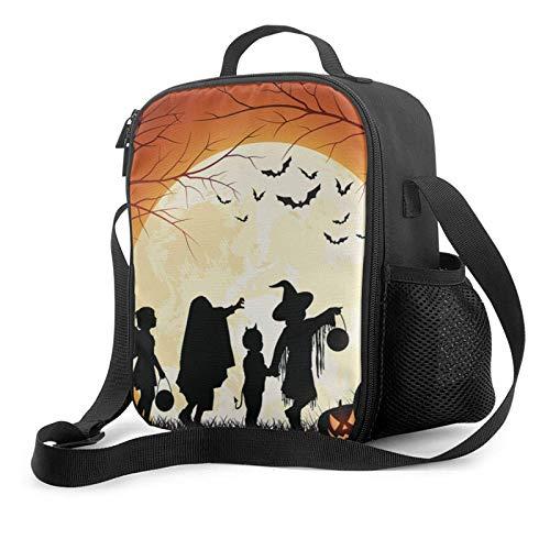 Lawenp Bolsa de almuerzo con aislamiento de halloween, bolsa de almuerzo plana a prueba de fugas con correa para el hombro para hombres y mujeres, adecuada para el trabajo y la oficina
