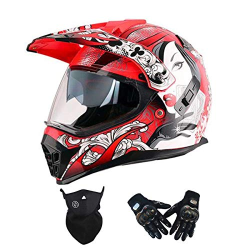 Casco de Motocross Mujer Rojo, Visera Doble, Casco Enduro Integral con Guantes Máscara, Casco Cross Motocicleta Adulto Casco MTB Descenso Bici Moto Off-Road Racing Quad Scooter,S