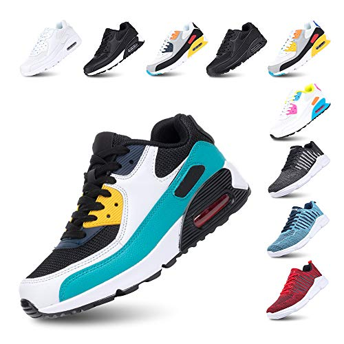 Zapatillas de Running para Hombre Mujer Ligero Correr Air Atléticos Sneakers Comodos Fitness Deportes Calzado Verde 41