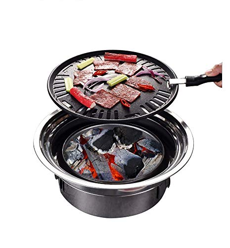 Primst Multifunctional Charcoal Barbecue Grill, Household Korean BBQ Grill, Portable Camping Grill Stove, Tabletop Smoker Grill