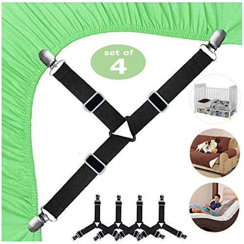 Bed Sheet Fasteners, Bed Sheet Holder Straps, Triangle Bed Sheet Keepers, Adjustable Elastic Bed Sheet Holders, Mattress Cover Holder Fasteners and Suspenders with Heavy Duty Clips, 4Pcs (Black)