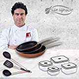San Ignacio PK1413 Professional Chef Copper Set 3 sartenes + 4 fiambreras + 3 Utensilios, Aluminio Prensado