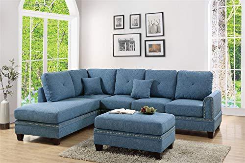 Poundex PDEX-F6512 2-Pcs Sectional Sofa Blue