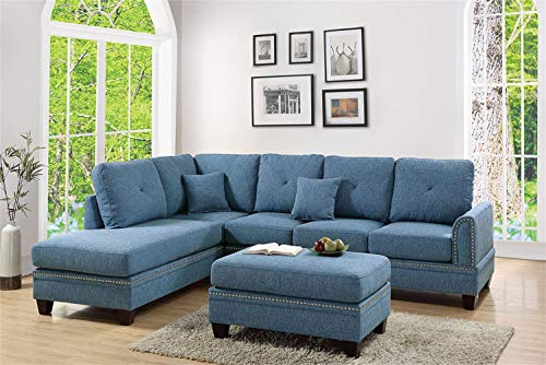 Poundex PDEX-F6512 2-Pcs Sectional Sofa Blue