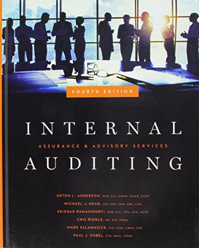 Compare Textbook Prices for Internal Auditing: Assurance & Advisory Services, Fourth Edition 4th Edition ISBN 9780894139871 by Urton L. Anderson,PhD,CIA,CFSA,CCEP,Michael J. Head,CIA,CPA,CISA,CMA,Sridhar Ramamoorti,PhD,CIA,CFSA,CGAP,CRMA,Cris Riddle,MA,CIA,CRMA,Mark Salamasick,CIA,CISA,CRMA,CSP,Paul J. Sobel,CIA,CRMA