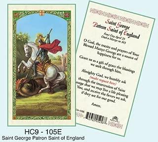 St. George Patron Saint of England Laminated Prayer Cards - Pack of 25 - HC9-105E
