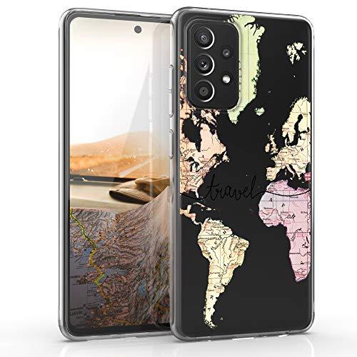 kwmobile Hülle kompatibel mit Samsung Galaxy A52 - Handyhülle - Handy Hülle Travel Schriftzug Schwarz Mehrfarbig Transparent