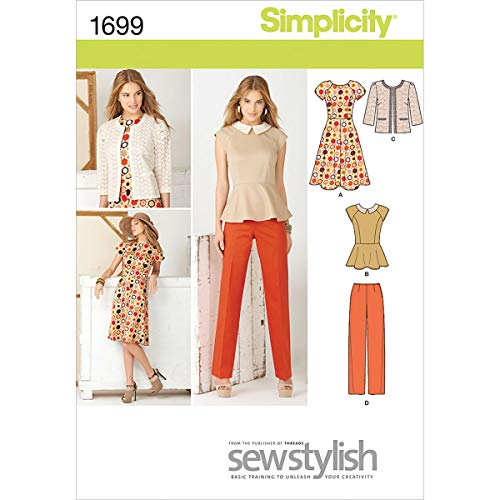 Simplicity Sew Stylish Pattern 1699 Misses Miss Petite Dress or Top, Jacket and Pants Sizes 8-10-12-14-16