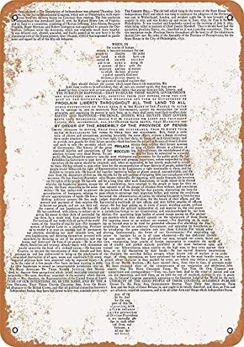 1776 Declaration of Independence Shaped As Liberty Bell - Cartel de metal con aspecto vintage para decoración de la pared del café, 20 x 30 cm