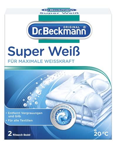 Dr. Beckmann Super Weiß | entfernt Grauschleier | hilft gegen Vergilbungen | die Wäsche wird wieder strahlend Weiß, 80g