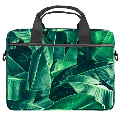Laptop Bag Tropical Banana Leaf Notebook Sleeve with Handle 13.4-14.5 inches Carrying Shoulder Bag Briefcase