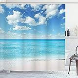 ABAKUHAUS Tropisch Duschvorhang, Exotischer Strand Vivid Sky, Bakterie Schimmel Resistent inkl. 12 Haken Waschbar Stielvoller Digitaldruck, 175 x 240 cm, Sky Blue Aqua