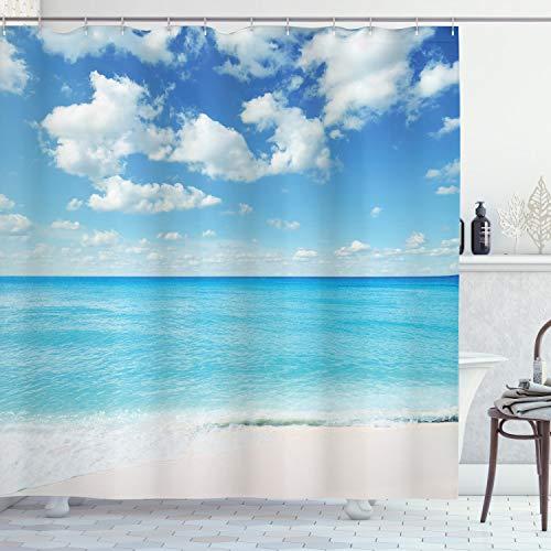 ABAKUHAUS Tropical Cortina de Baño, Cielo Vivo exótica Playa, Material Resistente al Agua Durable Estampa Digital, 175 x 200 cm, Cielo Azul de la Aguamarina