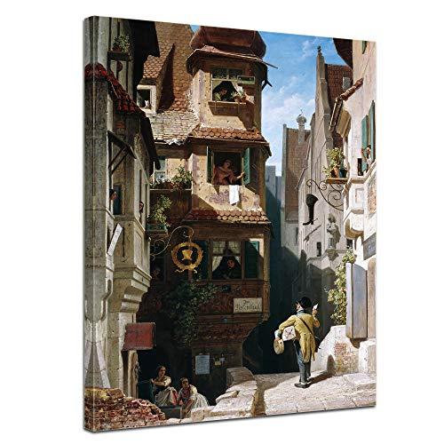 Wandbild Carl Spitzweg Der Briefbote im Rosenthal - 50x70cm hochkant - Alte Meister Berühmte...