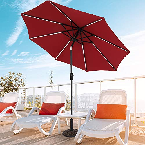 Aurora Furniture 9 Ft Strip Light Outdoor Patio Umbrella, Folding Market Table Sunbrella Waterproof Umbrella with Solar Energystorage Panel for Yard Lawn Beach, Base not Included, Wine Red