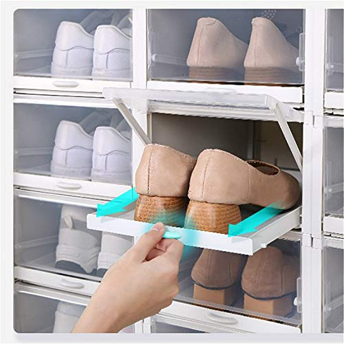 LANGYA 3pcs Zapatos de plástico Caja de Almacenamiento Transparente cajón Organizador hogar apilable Cajas Gruesas para Zapatillas de tacón Alto