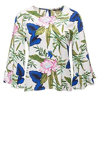 ONLY Damen Onlnova Wide Sleeve TOP WVN Bluse, Mehrfarbig (Cloud Dancer AOP: Blooming Flower), 34