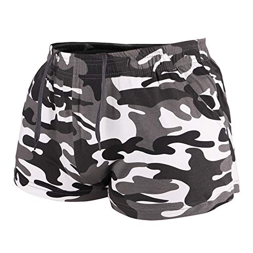 """Muscle Alive Men's Running Shorts with Pockets 3"""" Inseam Cotton Lounge Short Bottoms Black Camo Color Size M"""