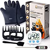 Culinary Natives | BBQ Grill Gloves, Meat Claws, Digital Thermometer, Timer, Brush | The No.1 Grilling/Smoker Accessories Kit for Pulled Pork, Brisket, and Ribs