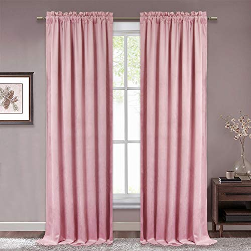 RYB HOME Velvet Curtain Panels Privacy Protected Heat Insulated Rod Pocket High Ceiling Window Drapery Set Vintage Pleated Light Block for Nursery Kids Room, Blush Pink, 52 x 108 Long, 2 Panels