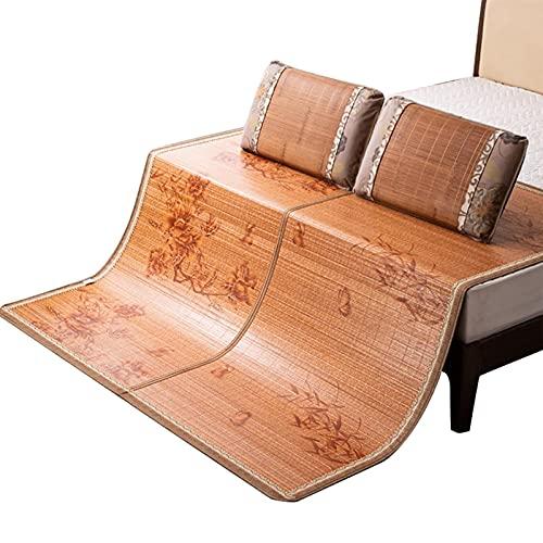 Colchones para dormir de verano, colchón de bambú, Colchones de bambú de 3 piezas, Colchones King, uso de doble cara, dormitorio en casa, refrigeración para el verano (Color: A, Tamaño: 1 * 1.9M (39