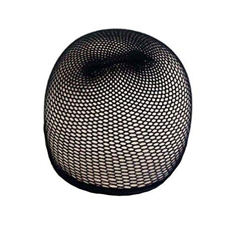 Black Hair Wig Weaving Stretchable Net Mesh Fishnet Elastic Snood Cap-2pcs by Mywigstore