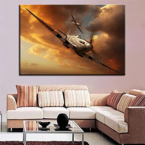 DIY 5D Diamond Painting Full Kits Large Size Aircraft Spitfire Dusk 30x50cm Adults Full Drill Crystal Rhinestone Embroidery Cross Stitch Diamond Paintings Pictures Arts for Home Wall Decor Gift