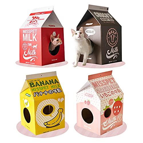 猫ハウス 牛乳パックハウス つめとぎBOX ダンボール製キャットハウスシリーズ おしゃれ ボックス (バナナ)
