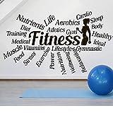 SLQUIET DIY Sports Gym Words Decal Motivational Fitness Health Calcomanías de pared Fitness Club Stickers Sport Workout Inspirational stickers negro 72x42cm