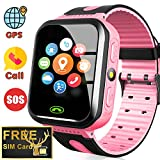 AMENON [Included SIM Card] Kids Smart Watch - GPS Tracker Kids Smart Watches for Boys Girls with Calls SOS Anti-Lost Kids Smartwatch Phone Child Wrist Watch for Xmas Holiday Toys Gifts