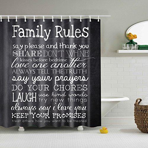 Fityle Conjunto de cortina de banheiro com estampa de tecido de poliéster criativo - Regras da família