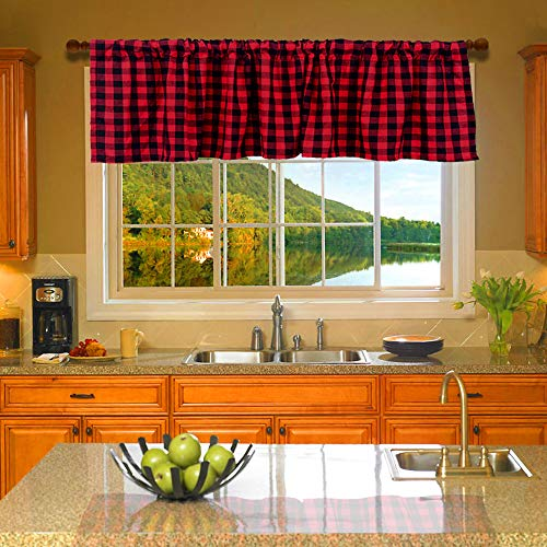 HTFDStar 53'' x 16'' 2PCS Buffalo Check Plaid Cotton Window Valances Black and Red Farmhouse Design Window Treatment Decor Curtains Rod Pocket Valances for Kitchen/Living Room