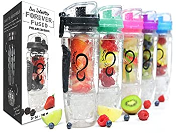 Live Infinitely 32 oz. Infuser Water Bottles – Featuring First Ever Gel Freezer Ball Infusion Rod
