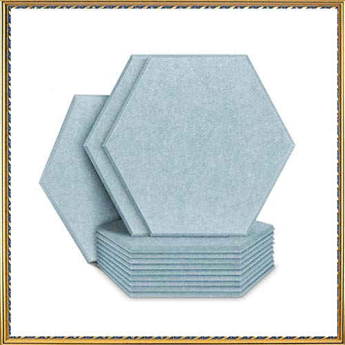 Acoustic Panels Sound Dampening Panels Hexagon, 12 Pack Sound Proof Padding Soundproofing Absorption Panel, 14' x 13' x 0.4' High Density Beveled Edge Wall Tiles for Acoustic Treatment (Gray)
