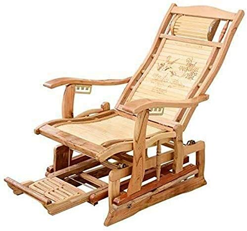 Tumbona Sillas de jardín Tumbona plegable Mecedora Salón Silla de bambú, diseño de pedal...