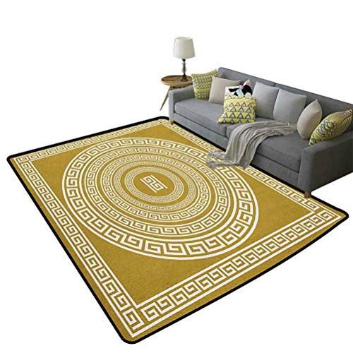 Greek Key Non-Slip Yoga mat Carpet Frieze with Vintage Ornament Meander Pattern from Greece Retro Twist Lines Extra Soft and Non Slip Area Rug Goldenrod White 47 x 59 Inch