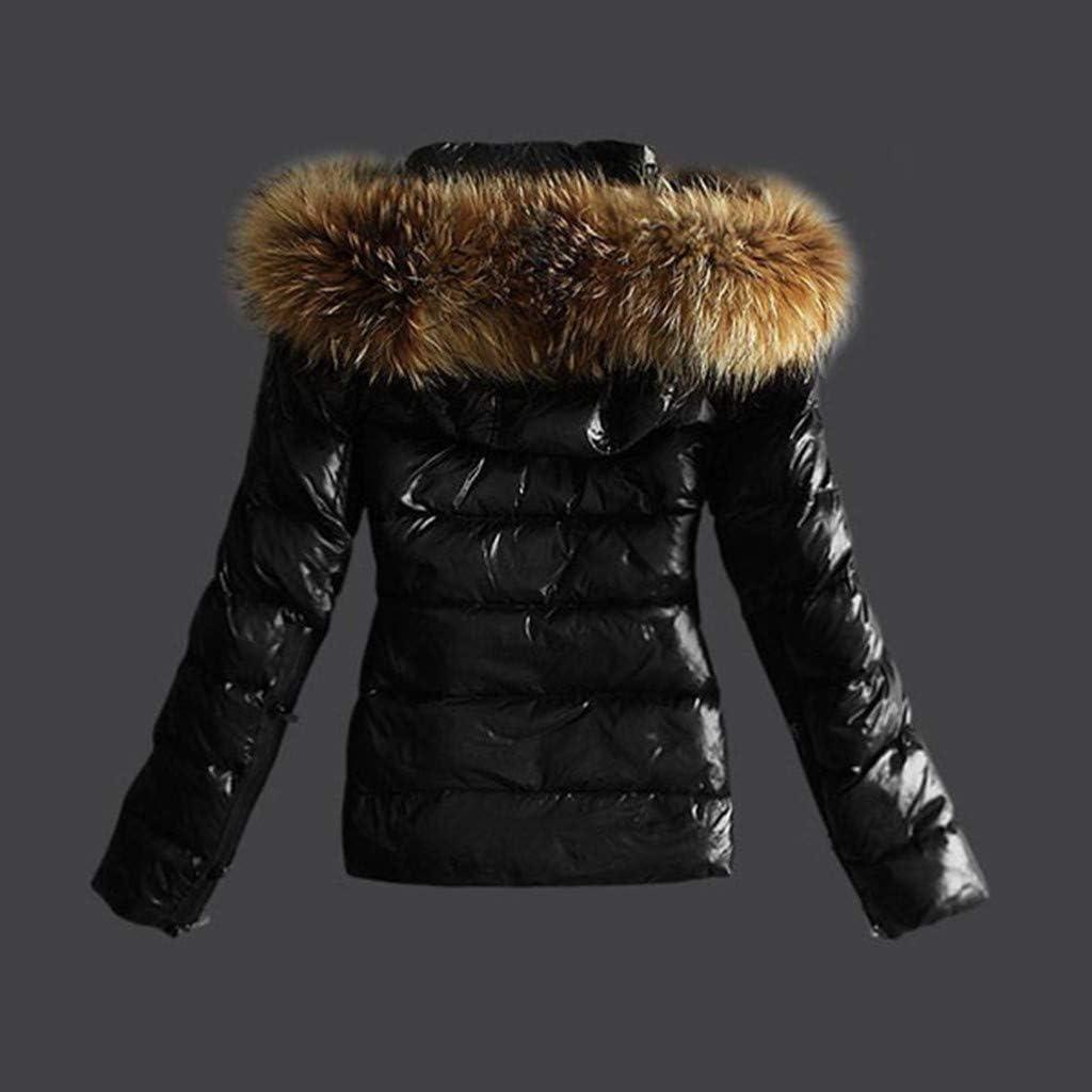 Damen Winter Jacke Mantel Parka warm gefütterte Winterjacke Damen Übergangsjacke Steppjacke mit Kapuze Luckycat 2*schwarz