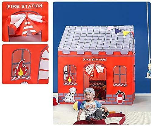 Mogicry Haushalt Kind Cartoon Zelt Sommer Kind Camping Unterhaltung Tipi Haus Geburtstagsgeschenk Geschenk Für Kinder 1+ Kinder Spielen Zelt Für Indoor Outdoor (125  96  140 cm) (Farbe   Firemen)