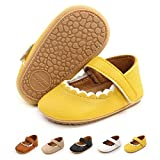 BEBARFER Infant Baby Girls Mary Jane Flats Anti-Slip Rubber Sole Toddler First Walkers Princess Dress Shoes Crib Shoes(0-6 Months A/Yellow)