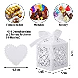 VGOODALL 100 Stück Hochzeit Gastgeschenke Süßigkeiten Kasten Gastgeschenke Schachtel Hochzeit Taufe Geschenkbox Kartonage Tischdeko Hochzeit Dekoration (Weiß) - 3