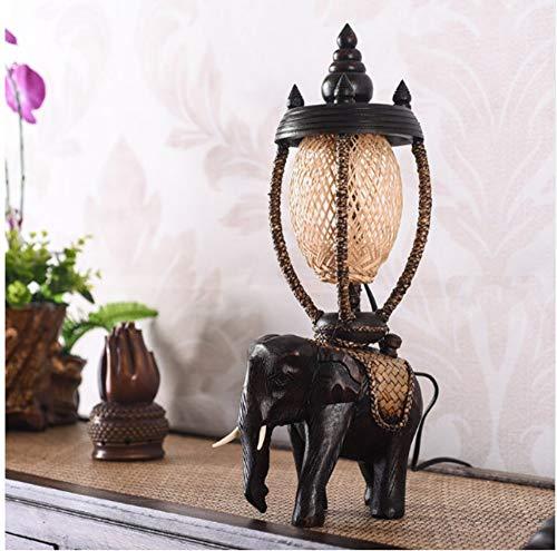 LIUJINHAI Südostasiatische massivholz Elefant Lampe thailändisches Land kreative persönlichkeit Retro warm Schlafzimmer nachttischlampe tan91813
