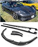 For 2005-2013 Chevrolet Corvette C6 Wide Body Models   ZR1 Style Front Bumper Lip Splitter With Side Skirts Rocker Panel Mud Flap Pair (Carbon Fiber)
