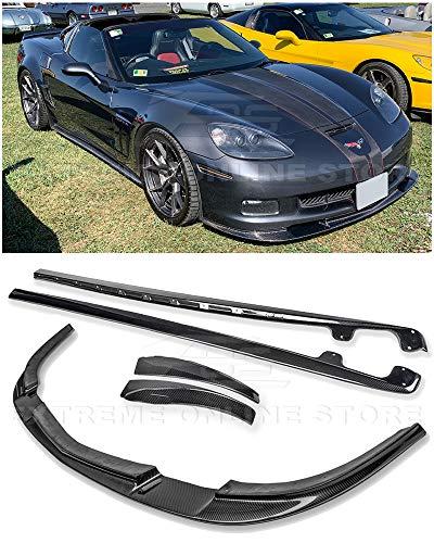 For 2005-2013 Chevrolet Corvette C6 Wide Body Models | ZR1 Style Front Bumper Lip Splitter With Side Skirts Rocker Panel Mud Flap Pair (Carbon Fiber)