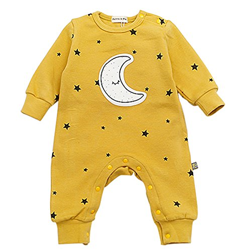 Bebone Baby Strampler Jungen Mädchen Overall Stern und Mond Babykleidung (0-3 Monate/66, Gelb)
